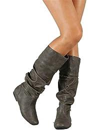 e5f899f002b YUCH Zapatos De Mujer Botines Planos con Pliegues Y Fondo Plano Plisados