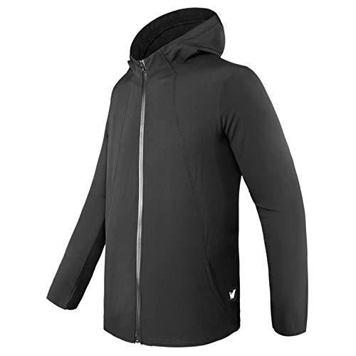 WHCREAT Herren Sportjacke, Leichte und Atmungsaktive Jacke Trainingsjacke mit Kapuze - Schwarz M