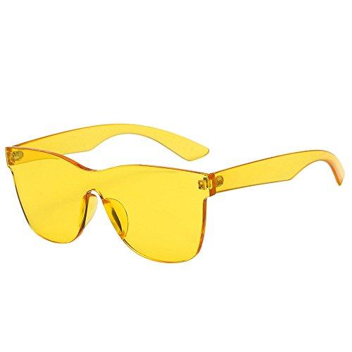 Tyoby Damen Mode Heart-Shades Sonnenbrille Integrierte UV-Bonbonfarbene Brille, verschiedene Farben/Verpackungsdesign(Gelb)