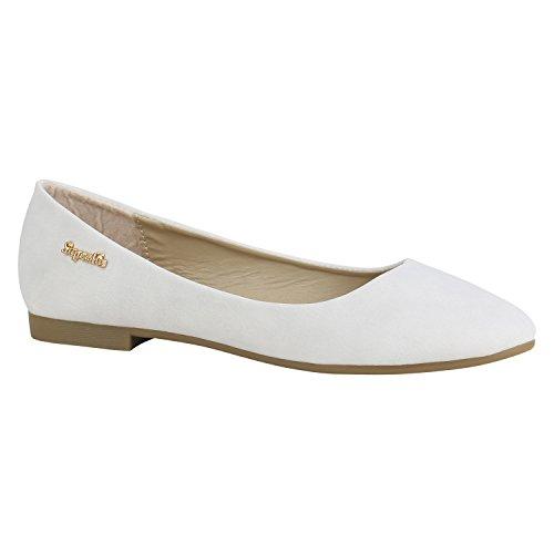 Stiefelparadies Klassische Damen Schuhe Ballerinas Leder-Optik Flats Modisch 156109 Grau Camiri 38 Flandell