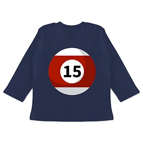 Karneval und Fasching Baby - Billardkugel 15 Kostüm - 12-18 Monate - Navy Blau - BZ11 - Baby T-Shirt Langarm