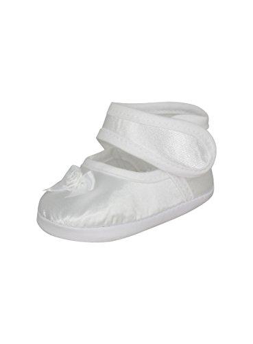 Boutique-Magique Chaussons de Baptême Blanc Bébé Fille Satin Noeud