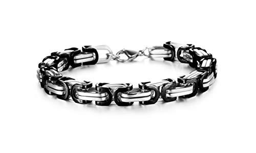 Beydodo Edelstahl Armband Charm Damen Byzantine Armband Schwarz Partnerarmband Freundschaftsarmband Weiß 22CM