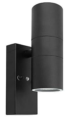 Black Outdoor Up Down Wall Light Dusk Till Dawn Sensor Stainless Steel IP65 ZLC090B from Long Life Lamp Company