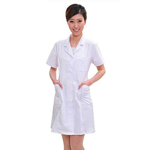 ESENHUANG Dame Weiß Kurzarm Laborkittel Baumwolle Ärzte Wissenschaftler Frauen Krankenschwester Uniform Kleid Kostüm Medizinische ()
