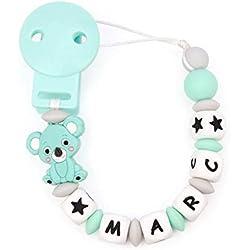 RUBY - Attache Sucette Personnalisée pour bébé avec antibactérien Silicone Ball avec nom, koala en silicone alimentaire. (Pastel Turquoise)