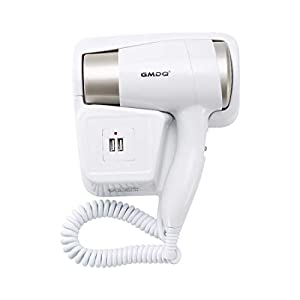 Hair Dryer Hotel Wall Mounted with Shaver Socket PluieSoleil White Compact for Home Hotel Bathroom