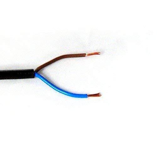 Schlauch-Leitung, schwarz, 2 adrig, H05 VV-F 2G 0,75 mm² für flexible Verlegung, 300V, Strom-Kabel für mittlere Beanspruchung (10m)