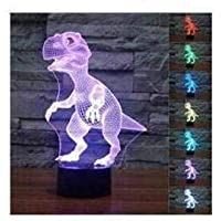 3D Dinosaur LED Night Light Amazing Optical Illusions 7 Changing Colors Touch Table Desk Lamp USB Cable Home Decor