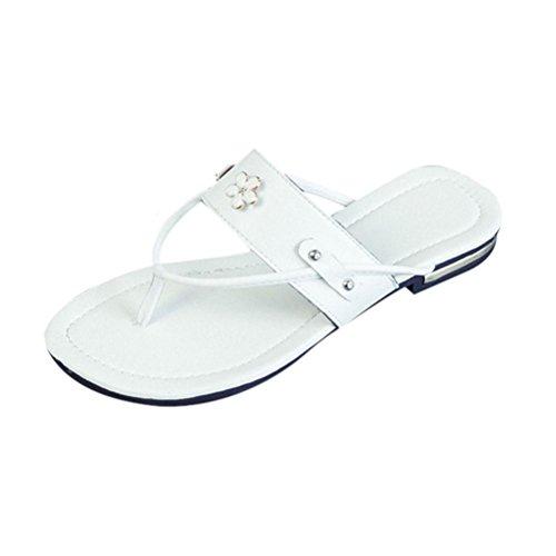 Saingace Verão Mulheres Sapatos De Praia Flores Rasteiras Deslizar Chinelos Resistentes Sandália Branca