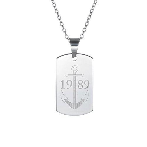 Gravado Halskette für Männer mit ID-Tag Anhänger aus Edelstahl - Anker Motiv- Personalisiert mit Jahr oder Initialen - Herren Schmuck