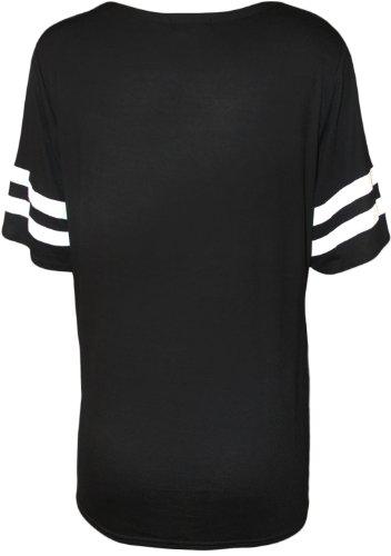 WearAll - 85 imprimé baseball t-shirt top avec manches courtes - Hauts - Femmes - Tailles 36 à 42 Noir
