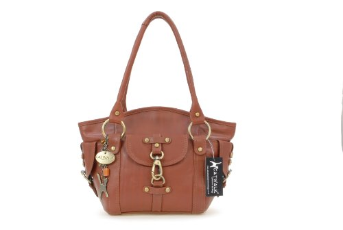 Borsa in pelle a spalla di Catwalk Collection Karlie Marrone chiaro Comprar Barato Salida 63SC1WGx2J