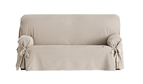Eysa Constanza Universal 2 Seat Sofa Cover with Ribbons, Linen
