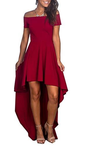 Angashion Damen Sommerkelid Kurze Ärmel Cocktailkleid Schulterfrei High Low Kleid Partykleider Rot XL
