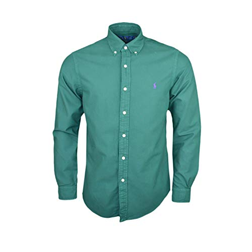 Ralph lauren mod. 710723610 camicie oxford tinta unita lavata slim fit uomo college green s