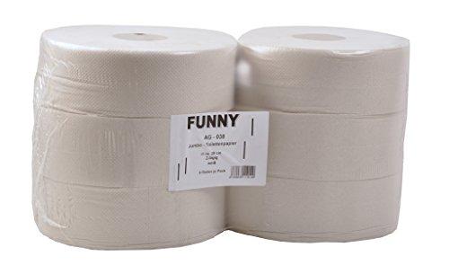 Funny Jumbo - Toilettenpapier 2 lagig Recycling weiß, Durchmesser circa 28 cm, 1er Pack (1 x 6 Stück) - Jumbo-rollen