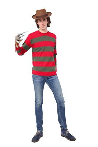 Herren Rot und Dunkel Grün Streifen Freddy Krüger Kostüm Pulli, Rot und Grün Freddy, Large (Chest 46-48')