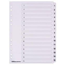 Mylar-Register A4–verschiedene 1-15 Numeric White