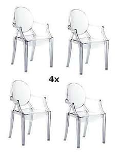 Kartell louis ghost 4 chaises empilables transparent par philippe starck 4853 b4 de prix