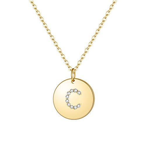Clearine Damen Halskette 925 Sterling Silber Zirkon Runde vergoldete Premium Buchstaben C Alphabet Münze Coin Anhänger Kette in 14 K Gold-Ton