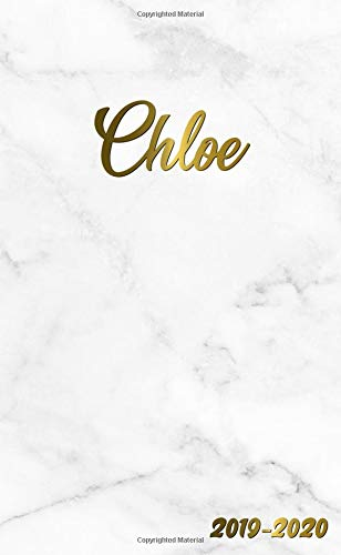 Chloe 2019-2020: Pretty Personal Marble & Gold Two-Year Monthly Pocket Planner with Phone Book, Password Log and Notebook. Cute Girl Name Gift Calendar, Organizer and Agenda.