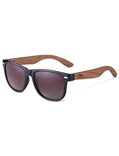 7d4d21c11c5ba1 Amexi Herren und Damen Polarisierte Sonnenbrille mit Holzbügeln, UV-Schutz,  mit Brillen-