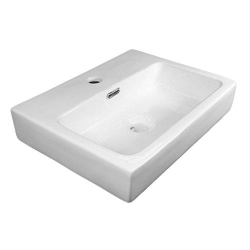 NEG Waschbecken Uno66H (eckig) Hänge-Waschschale/Waschtisch (weiß) mit flachem Rand und Nano-Beschichtung