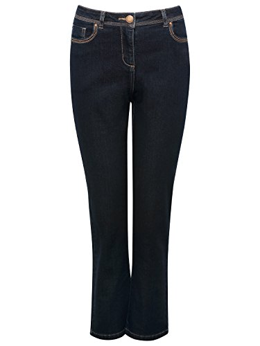 MCo-Petite-Ladies-Casual-Straight-Leg-Soft-Denim-Classic-Zip-Detail-Dark-Wash-Jeans