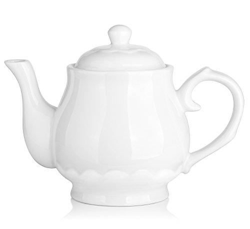 Dowan Tetera de porcelana blanca fina perforada de cerámica