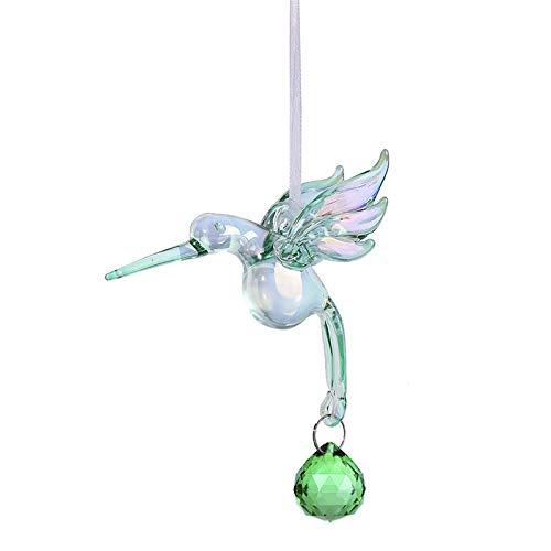 Rainbow Makers Crystal Green Sonnenfänger, Kugel Prisma, Fantasy-Glas, Kolibri-Ornament (Glas Ornamente Kugel)
