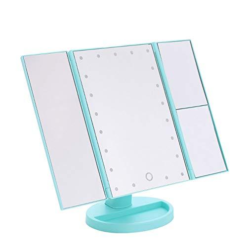 Asosmos - specchio da trucco a led, pieghevole, con 21 luci, rotazione libera di 180 gradi, per il bagno