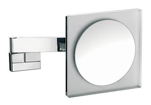 Emco Kosmetikspiegel eckig, mit Beleuchtung, dimmbar, Badspiegel mit Gelenkarm, 5-fach vergrößert - 109606004
