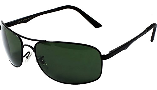 AISLIN Premium Rectangular/Wrap-Around Sunglasses With Toughened Lens (Matte Black Frame) (Green Lens) (Unisex) (Medium - 62 mm) (AH-3484DH-2-BLK)