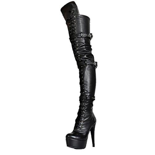 MERUMOTE Damen Over Knee Stiefeln, Sexy High Heels Plattform Schuhe for Party Prom Tanzen Schwarz 35 EU