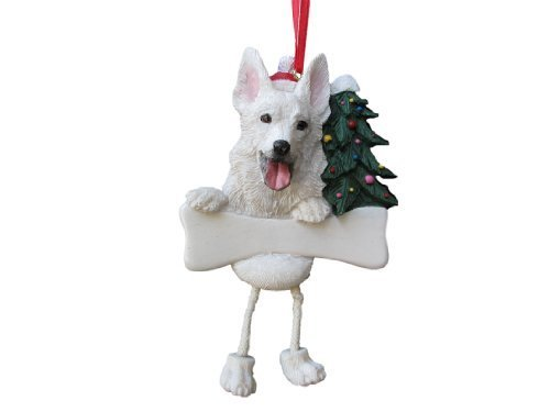 'German Shepherd Ornament White with Einzigartige Dangling Legs, Drachenfigur Hand Painted and an Weinglas Christmas Ornament by e & s Imports, Inc -
