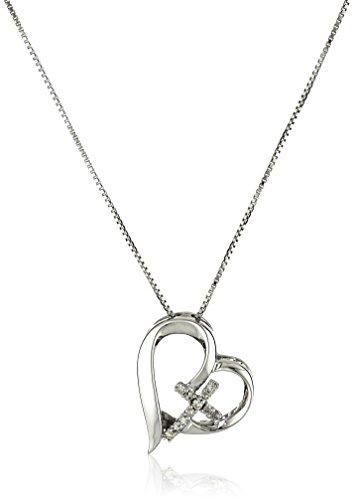 Amazon Sterling Silver Open Heart Faith Hope Love Pendant Necklace 18