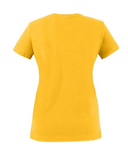 EZYshirt® Ein Engel ohne Flügel nennt man Hebamme Damen Rundhals T-Shirt Gelb/Pink