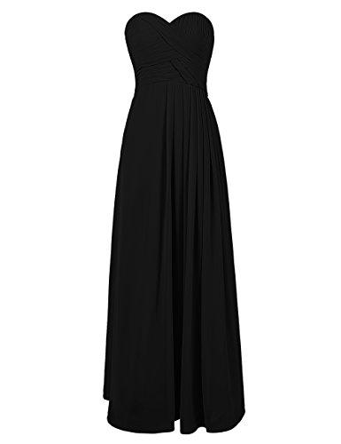 Dresstells, Robe de soirée Robe de cérémonie Robe de demoiselle d'honneur longueur ras du sol col en cœur sans bretelles Noir
