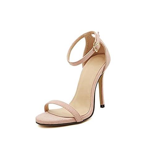 HYLM La nouvelle mode estivale belle chaussures à talons hauts boucle mot / tempérament sandales femme chaussures de soirée de mariage , bare (cashmere) , 38
