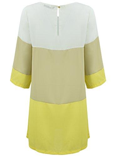 AZBRO Mode mehrfarbiges Block Minikleid Yellow