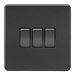 Screwless 10A 3G 2-Way Switch - Matt Black with black rockers