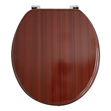 Unibos Mahogany Effect Wooden Traditional Toilet seat Chrome Hinge Fittings Bathroom