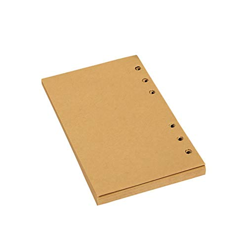 A6 6-Loch Kraftpapier Nachfüllpapier Ersatz Binder Planer Einlagen blanko Seite 80 Blatt (Kraftpapier Binder)
