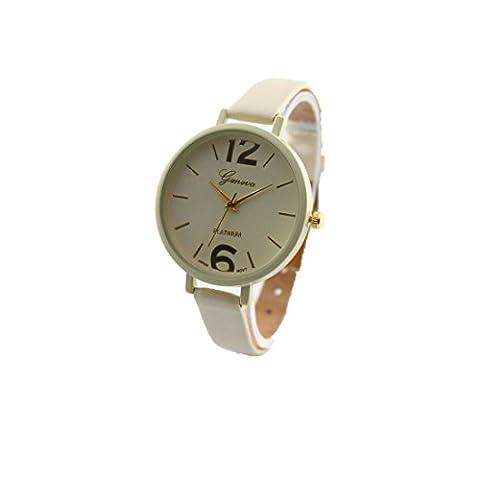 Frauenuhr - Kingwo Genf Damen Kunstleder Analog Quartz Armbanduhr