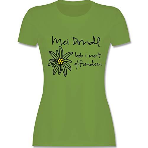 Nette Dame Herz Kostüm - Oktoberfest Damen - Dirndl net g'funden - Shirt statt Dirndl - XL - Hellgrün - L191 - Damen Tshirt und Frauen T-Shirt