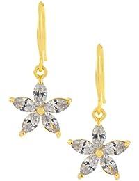 The Jewelbox Trendy Star Flower 18K Gold Plated American Diamond Earring For Women Rakhi Raksha Bandhan Gift