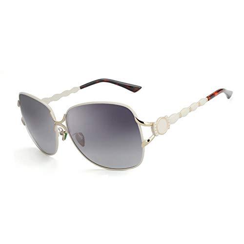 Easy Go Shopping Mode polarisierte Klassische Vintage übergroße Aviator Sonnenbrille Womens Sonnenbrille Sonnenbrillen und Flacher Spiegel (Color : Weiß)