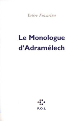 Le monologue d'Adramélech (Poésie) par Valère Novarina