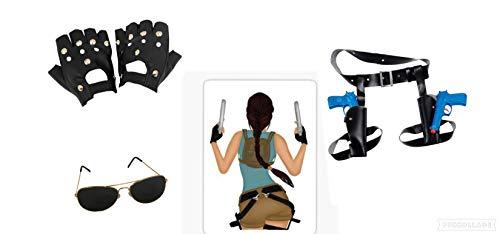 Seemeinthat Smit Lara Croft Tomb Raider Super Hero Twin Fake Pistolen mit Lara Croft Vinyl-Aufkleber, 72 mm x 102 mm, zum Aufkleben auf T-Shirts oder Shorts und Nieten Handschuhe, ikonische Flieger